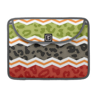 Taupe Red Green and Orange Leopard Sleeve For MacBooks