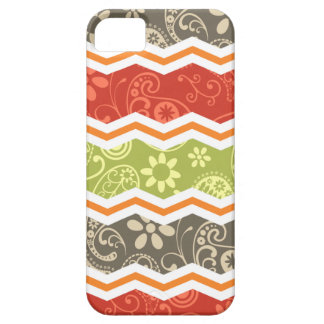 Taupe, Red, Green, and Orange Paisley Chevron iPhone 5 Cover