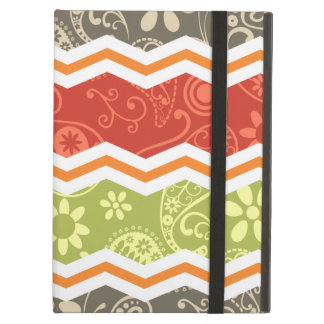 Taupe, Red, Green, and Orange Paisley Chevron Case For iPad Air