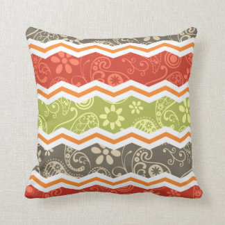 Taupe, Red, Green, and Orange Paisley Chevron Cushion