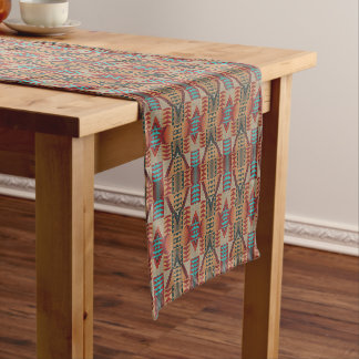 Taupe Red Orange Teal Tribal Mosaic Pattern