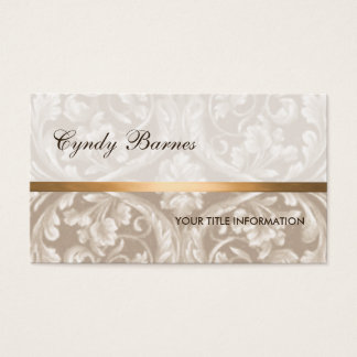 Taupe Renaissance Damask Business Card