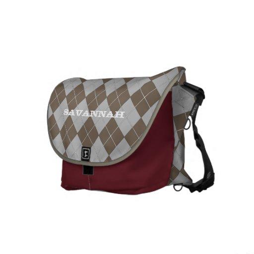 Taupe Retro Argyle Pattern Messenger Bag