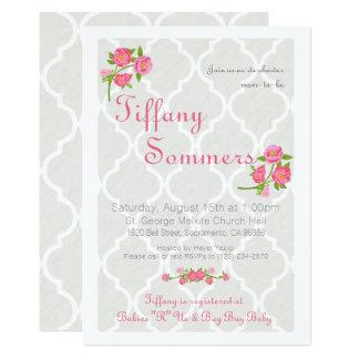 Taupe & Roses Quatrefoil Baby Shower Invitation