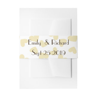 Taupe tan  Hearts on White background fun wedding Invitation Belly Band