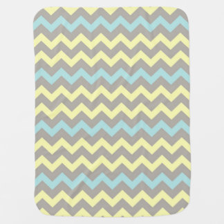 Taupe, Teal, Yellow Chevron Baby Blanket