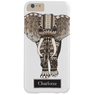 Taupe Tribal Elephant Custom Name Barely There iPhone 6 Plus Case