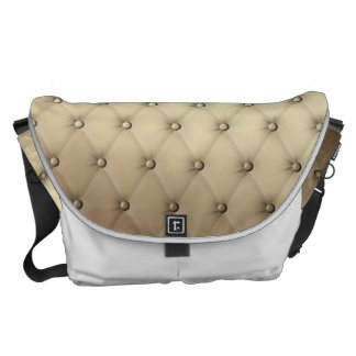 Taupe Tuft Leather Buttons Plush Buckskin Messenger Bag