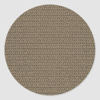 Taupe Weave Pattern Image Round Stickers