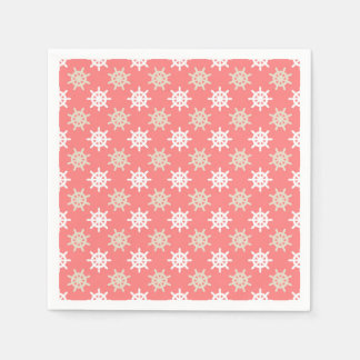 Taupe White and Coral Ships Wheel Nautical Pattern Disposable Napkin
