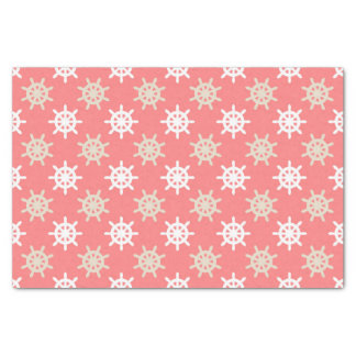 Taupe White and Coral Ships Wheel Nautical Pattern Tissue Paper