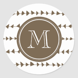 Taupe White Aztec Arrows Monogram Classic Round Sticker
