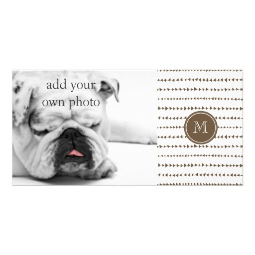 Taupe White Aztec Arrows Monogram Photo Cards