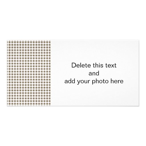 Taupe White Gingham Pattern Personalized Photo Card