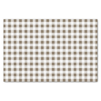 Taupe White Gingham Pattern Tissue Paper
