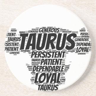 Taurus Astrology Zodiac Sign Word Cloud Drink Coaster