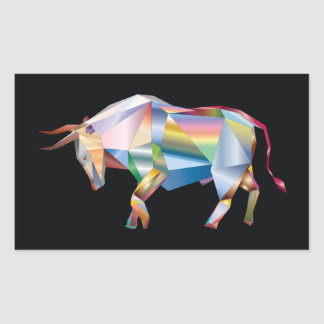 Taurus Bull Rainbow Prism Rectangular Sticker