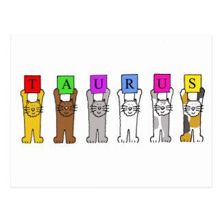 Taurus cartoon cats for birthdays. postcard