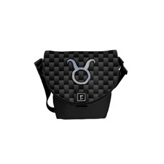 Taurus Chrome Like Zodiac Sign on Carbon Fiber Commuter Bag