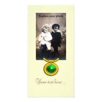 TAURUS /GOLD,GREEN EMERALD ZODIAC SIGN JEWEL CUSTOMISED PHOTO CARD