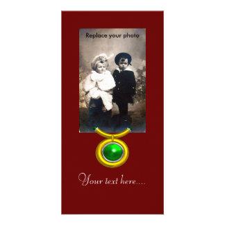 TAURUS /GOLD,GREEN EMERALD ZODIAC SIGN JEWEL CUSTOM PHOTO CARD