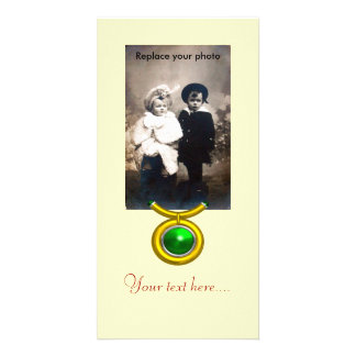 TAURUS /GOLD,GREEN EMERALD ZODIAC SIGN JEWEL PHOTO CARD TEMPLATE