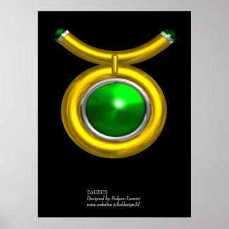 TAURUS /GOLD,GREEN EMERALD ZODIAC SIGN JEWEL POSTER
