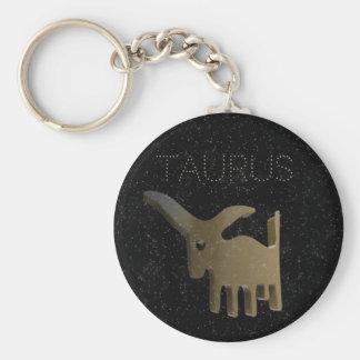 Taurus golden sign basic round button key ring