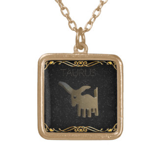 Taurus golden sign gold plated necklace