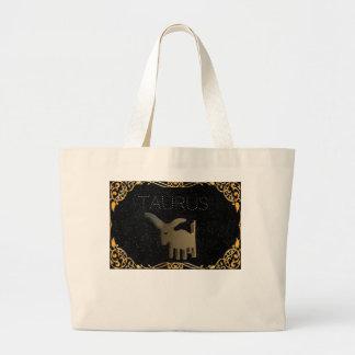 Taurus golden sign large tote bag