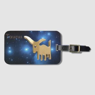 Taurus golden sign luggage tag