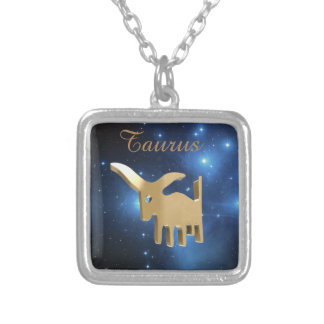 Taurus golden sign silver plated necklace