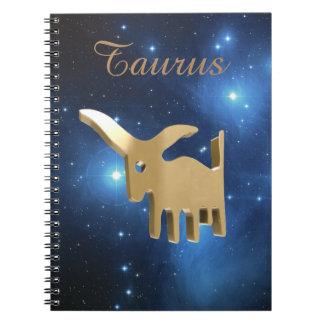 Taurus golden sign spiral notebook