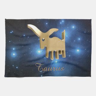 Taurus golden sign tea towel