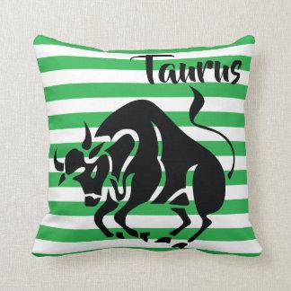 Taurus Horoscope Silhouette on Green Stripe Cushion