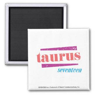 Taurus LtPink Square Magnet