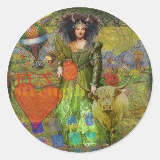 Taurus Surreal Fantasy Steampunk Astrology Classic Round Sticker