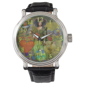 Taurus Surreal Fantasy Steampunk Astrology Wrist Watch