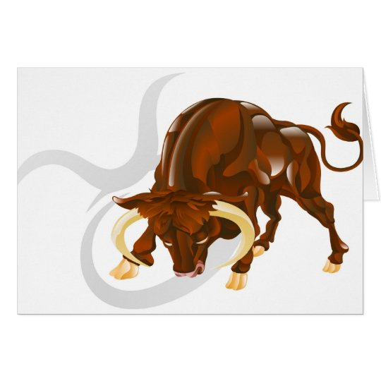 Taurus the bull star or birth sign. card