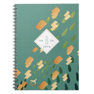 Taurus Zodiac Abstract Green & Gold Notebook