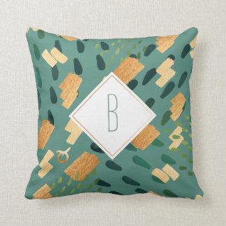 Taurus Zodiac Abstract Monogram Green Pillow