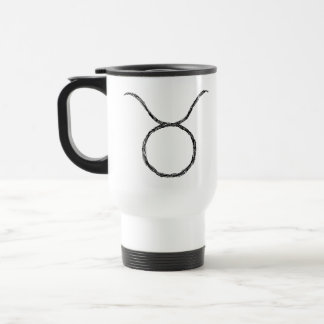 Taurus. Zodiac Astrology Sign. Black. Travel Mug