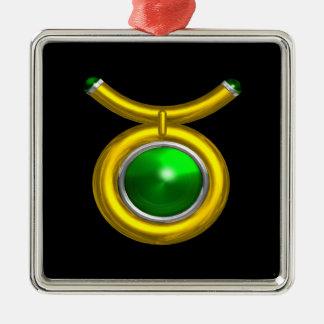 TAURUS ZODIAC BIRTHDAY JEWEL GREEN EMERALD Gold Square Metal Christmas Ornament