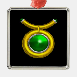 TAURUS ZODIAC BIRTHDAY JEWEL GREEN EMERALD Gold Silver-Colored Square Decoration