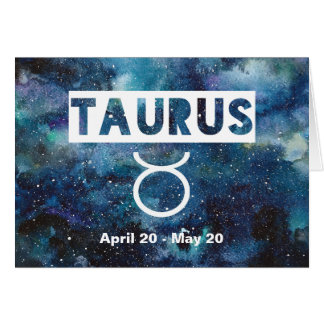 Taurus Zodiac Blue Watercolor Galaxy Birthday Card