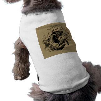 Taurus Zodiac Constellation Hevelius 1690 on Taupe Sleeveless Dog Shirt