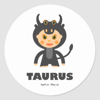 Taurus Zodiac for Kids Round Sticker
