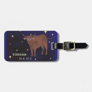 Taurus zodiac Luggage Tag w/ leather strap