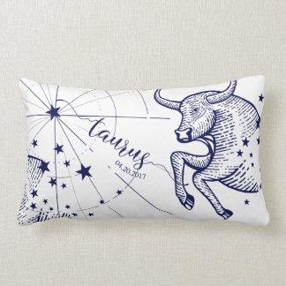 Taurus Zodiac Navy & Gold Astrology Décor Pillow