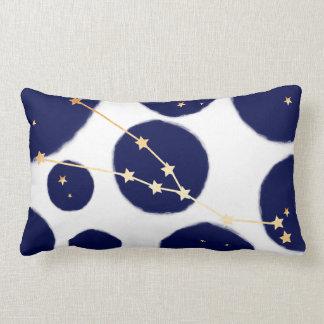 Taurus Zodiac Navy Polka Dot & Gold Design Lumbar Cushion